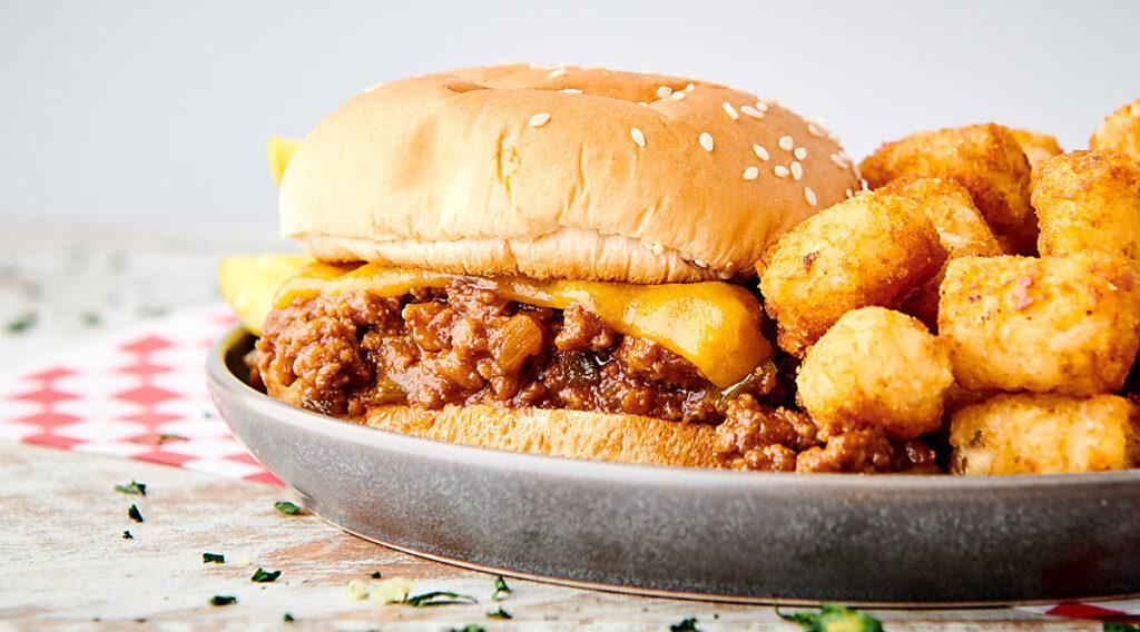 instant pot sloppy joes sandwich on plate