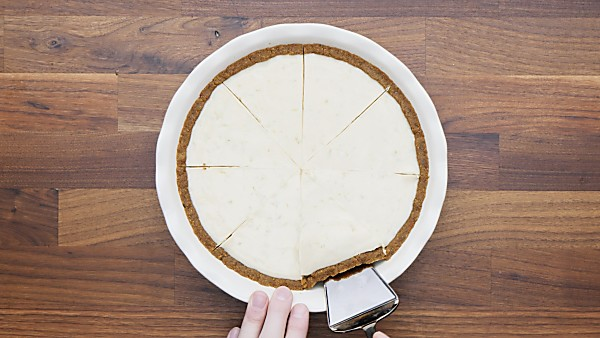 finished key lime pie being served