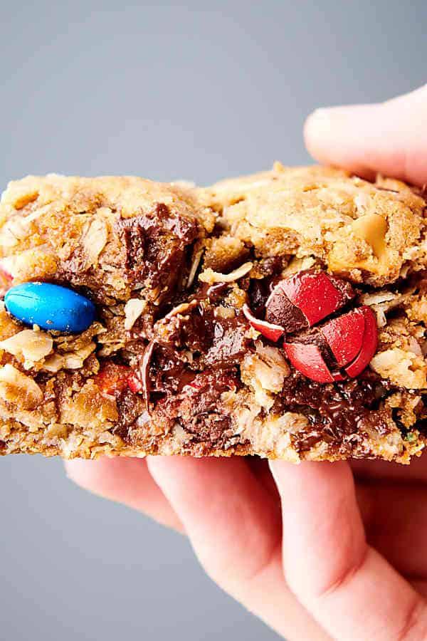 monster cookie bar held