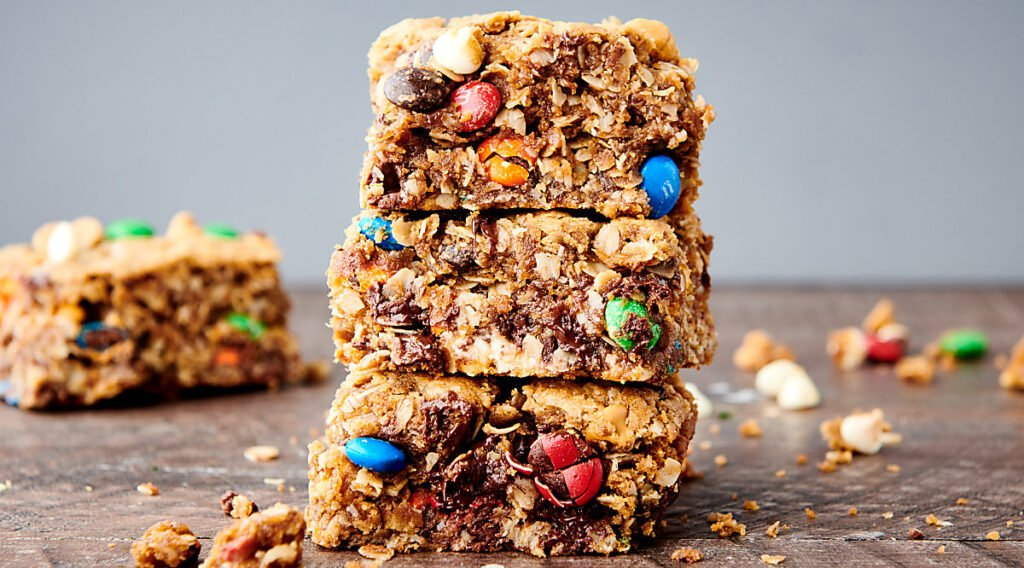 three monster cookie bars stacked