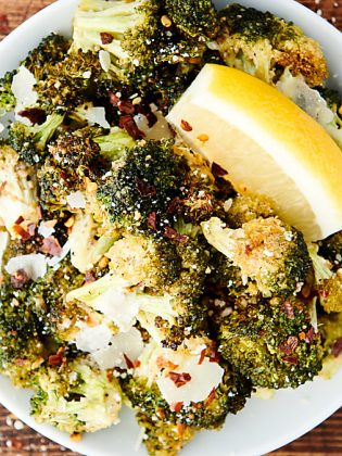 plate of air fryer broccoli above