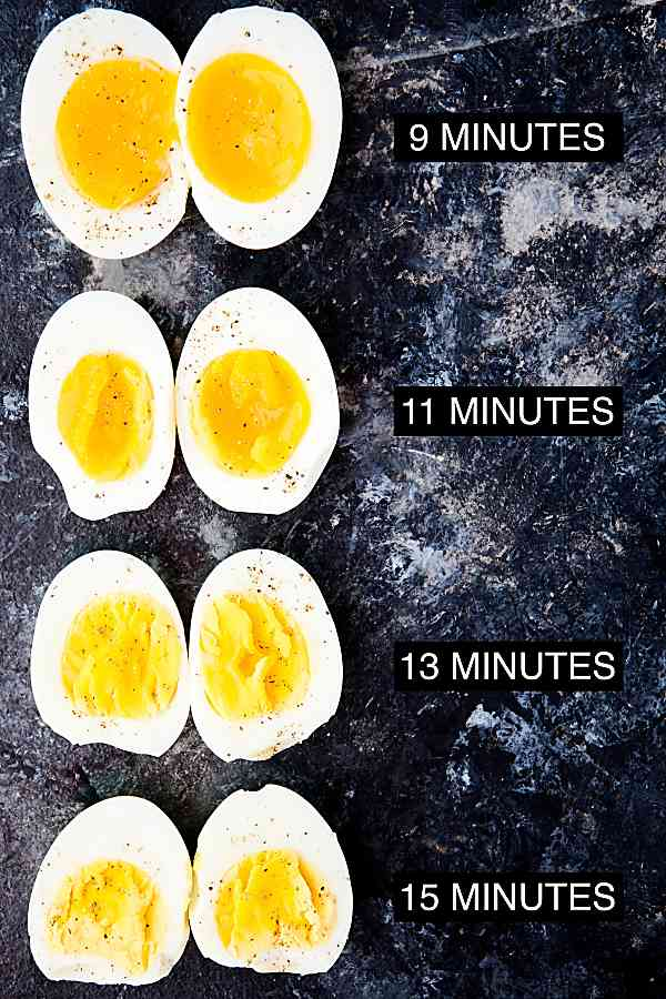 air fryer eggs above with different cook times and results