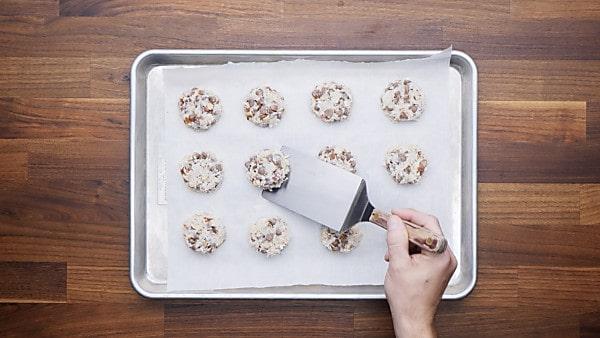 finished almond joy cookies on baking sheet