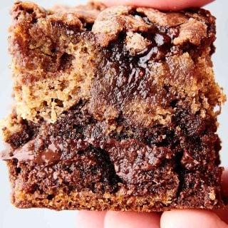 banana bread brownie held