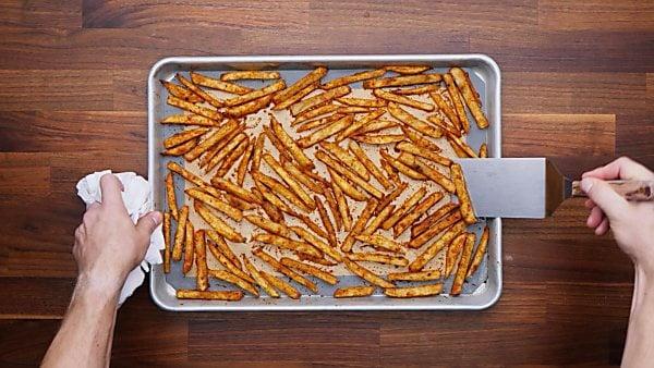 finished cajun fries on baking sheet