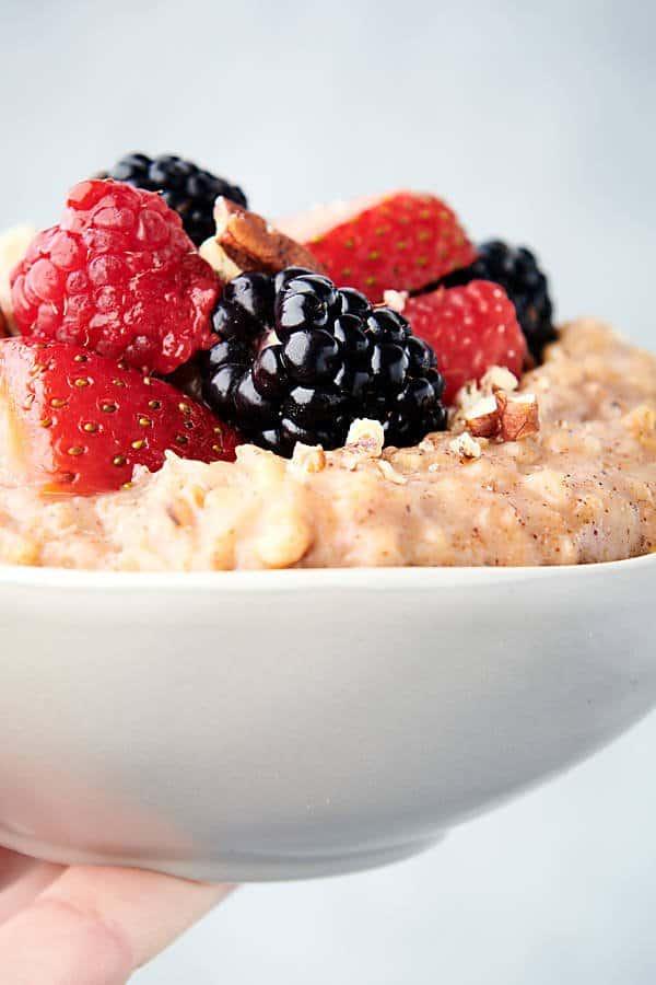 bowl of crockpot steel cut oats held