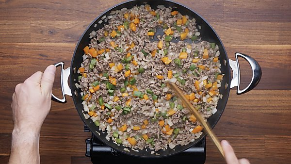 meat and veggies cooked in skillet