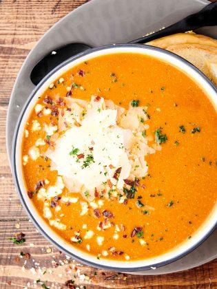 bowl of crockpot tomato soup above