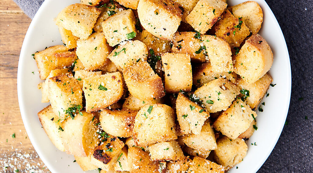 plate of homemade croutons above