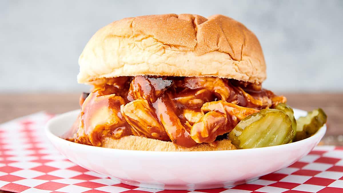 instant pot bbq chicken sandwich on plate
