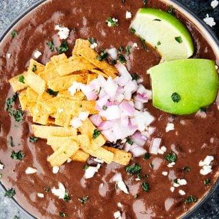 bowl of instant pot black bean soup above