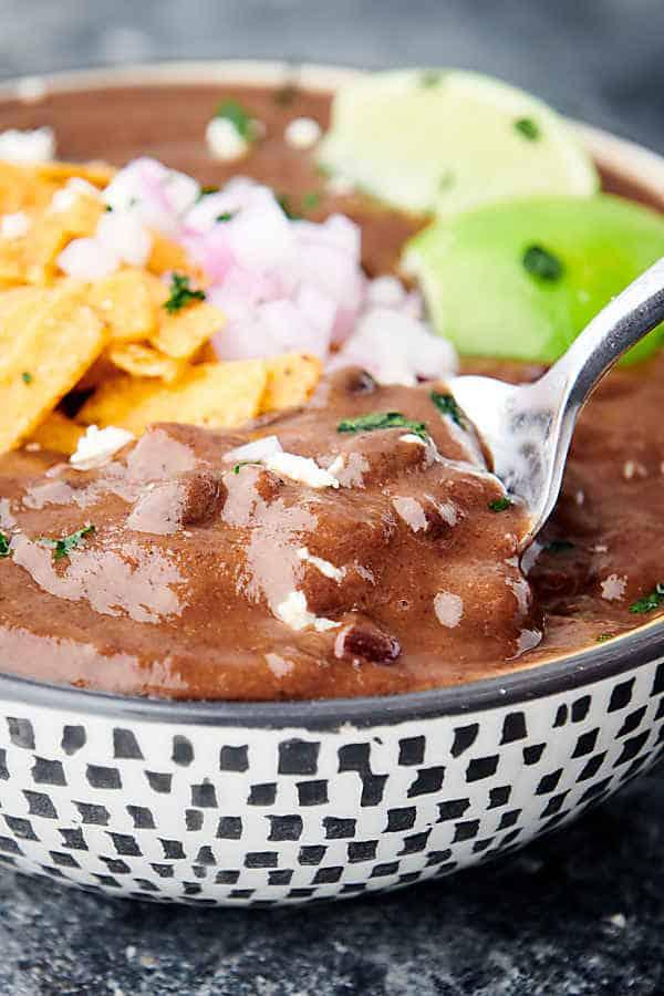 closeup of bowl of instant pot black bean soup