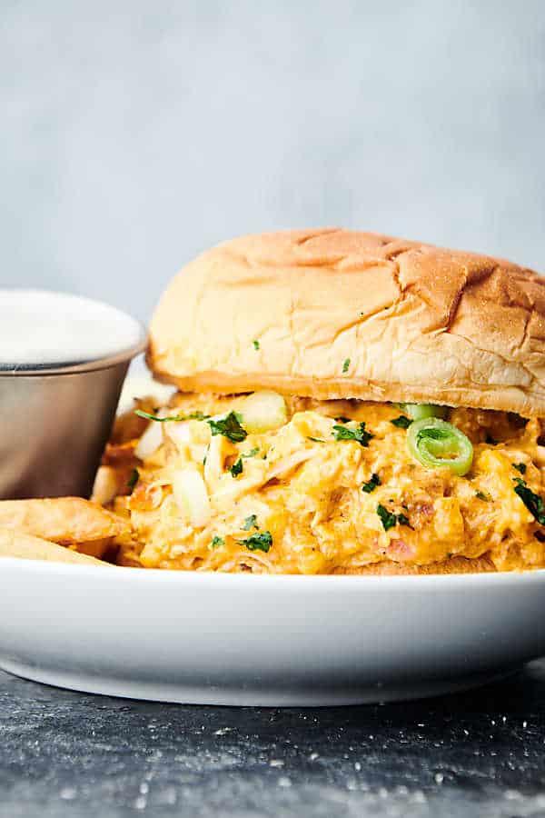 instant pot crack chicken sandwich on plate