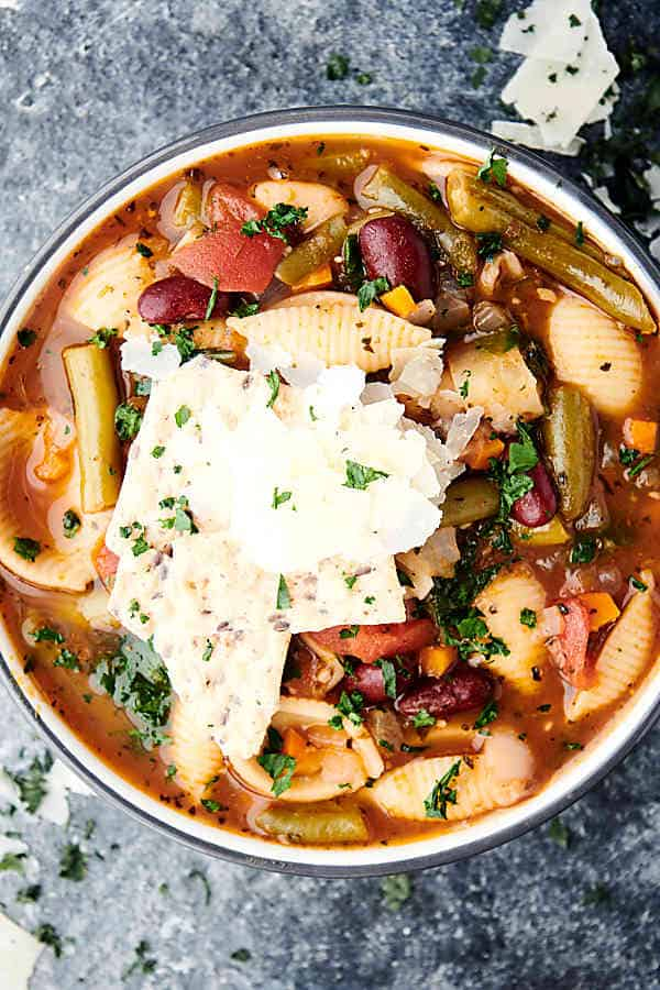 bowl of instant pot minestrone above