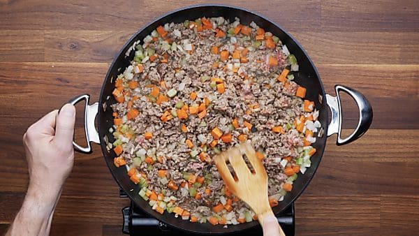 veggies and beef cooked in skillet