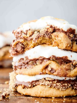 three smores cookies stacked