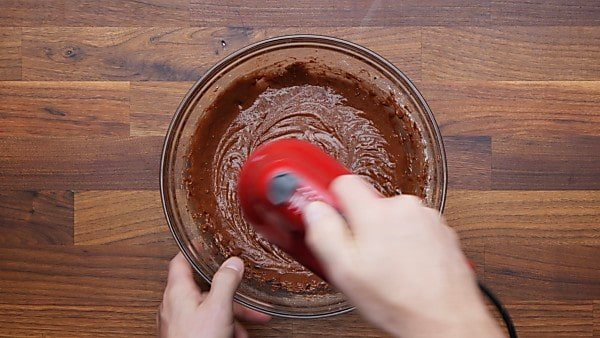 brownie batter in mixing bowl