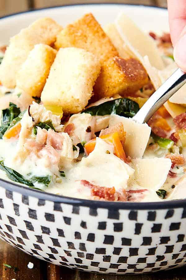 closeup of bowl of chicken florentine soup