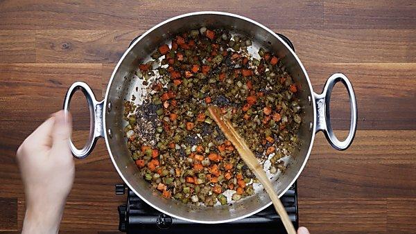 cooked veggies in stockpot