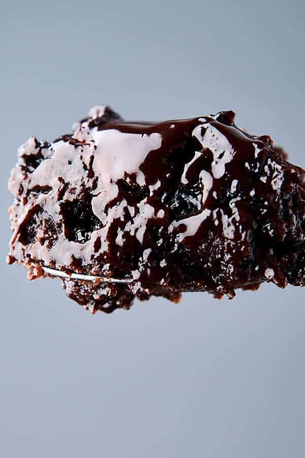 bite of crockpot lava cake on fork