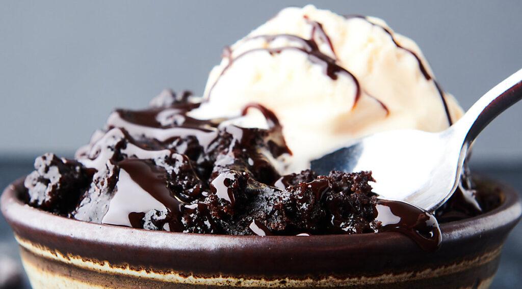bowl of crockpot lava cake