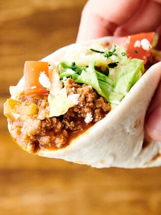 taco made with instant pot taco meat held