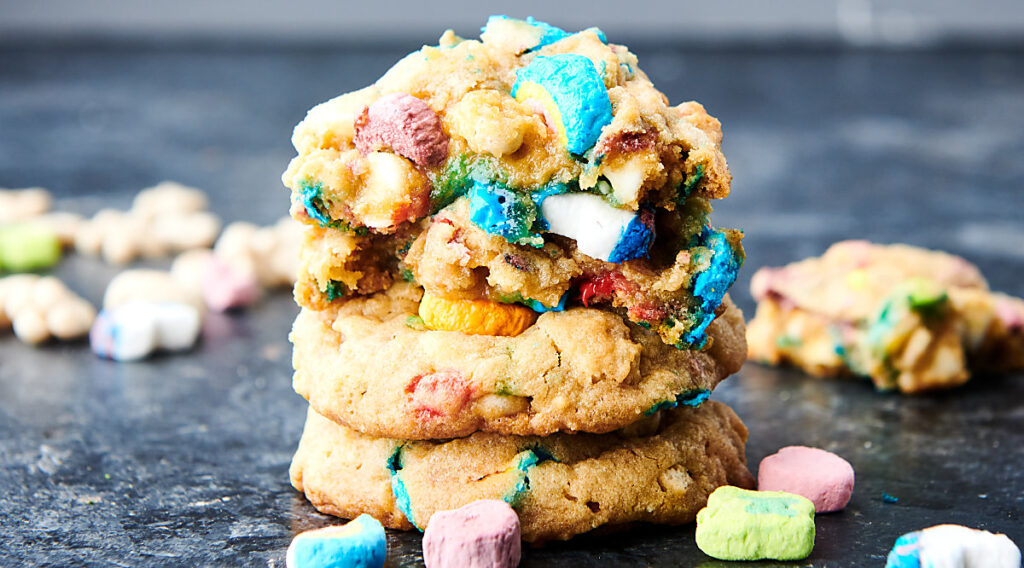 lucky charms cookies stacked