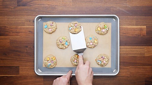 finished lucky charms cookies on baking sheet