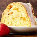 slice of peach pound cake on plate