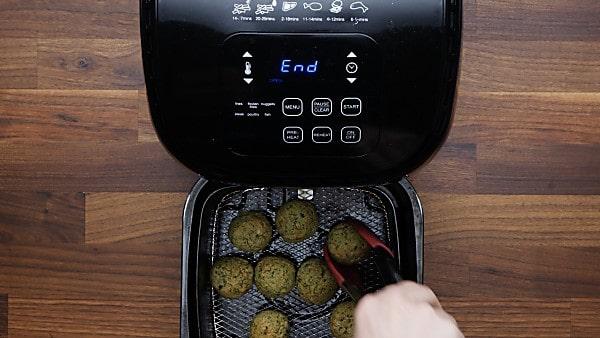 air fried falafel in air fryer basket