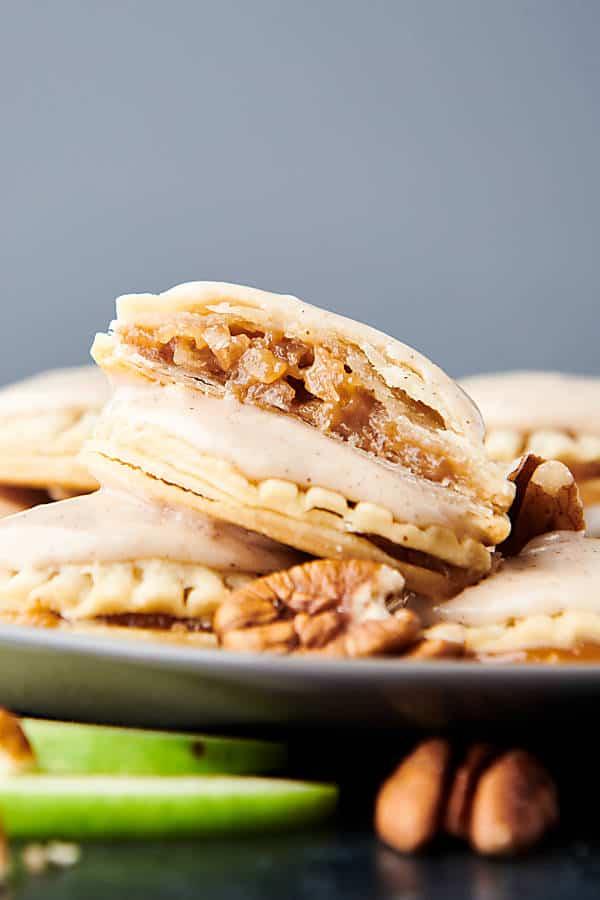 plate of apple pie cookies side view