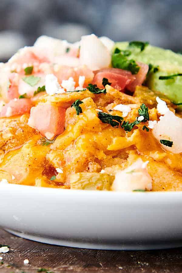 plate of instant pot chicken enchiladas