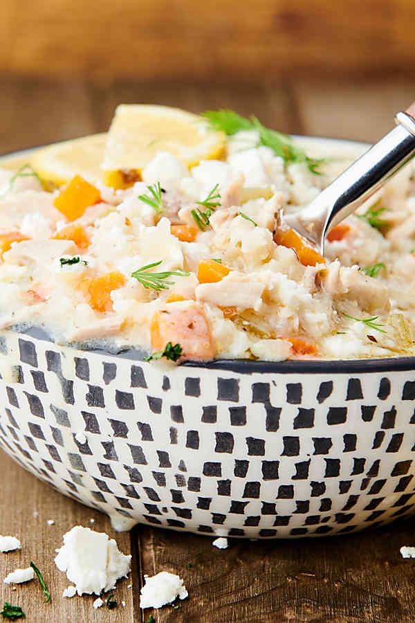 bowl of lemon rice soup side view
