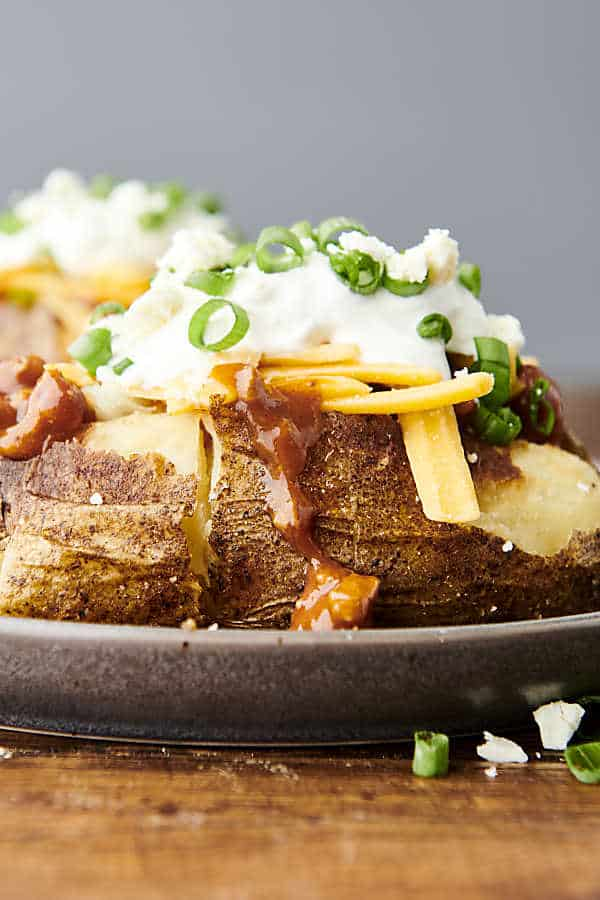 air fryer baked potato on a plate