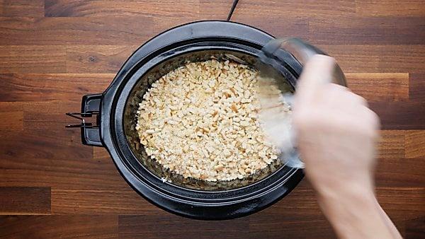 chicken/ham mixture and breadcrumbs in crockpot